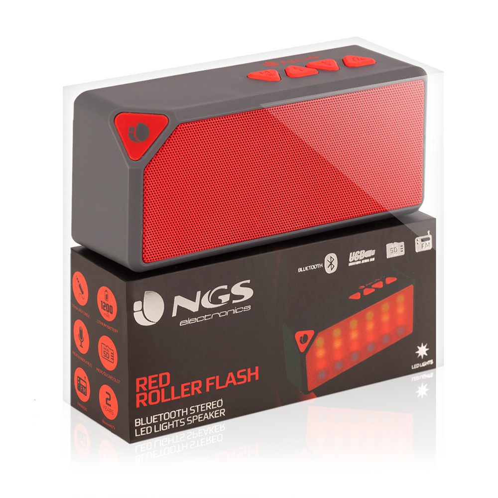 ALTAVOCES  NGS  ROLLER FLASH RED BLUETOOTH RADIO RANURA MicroSD USB