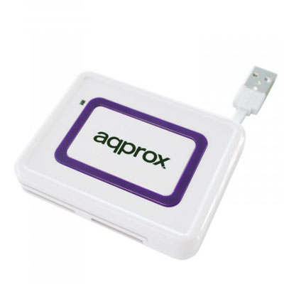 LECTOR DE EXTERNO APPROX CON CARD READER  Y LECTOR DNI ELECTRONICO (DNIe) CABLE USB INTEGRADO COLOR WHITE