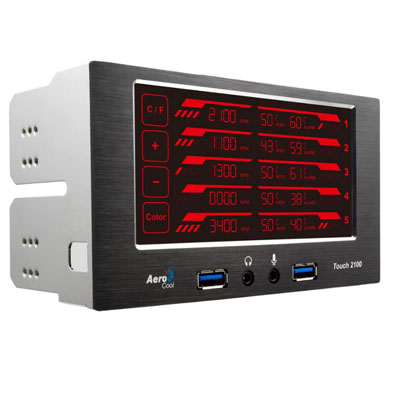 PANEL FRONTAL AEROCOOL TOUCH 2100 PANEL LCD TACTIL CON PUERTOS USB3.0 (2)  , JACKS 3,5mm MIC & HEADPHONE OCUPA 2 BAHIAS D