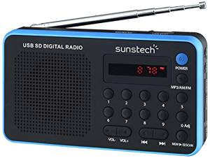 RADIO SUNSTECH PORTATIL RPDS-32  DIGITAL AM/FM AZUL-NEGRO