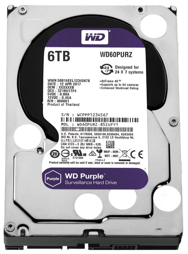 HDD WD 3.5'' 6TB 5400RPM 64MB SATA3 PURPLE