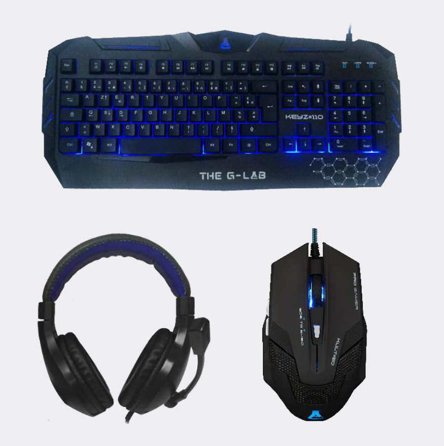 TECLADO+RATON+AURICULAR THE G-LAB GAMING USB