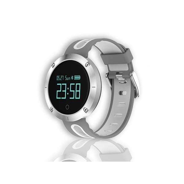 RELOJ INTELIGENTE DEPORTIVO BILLOW XSG30 PRO BLUETOOTH 4.0 PULSOMETRO TENSIOMETRO 50 MEMORIAS COMPATIBLE CON ANDROID E IOS COLOR GRIS/BLANCO