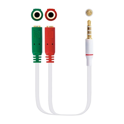 CABLE AUDIO NANO CABLE JACK 3.5/M 4 PIN-2XJACK 3.5/H 3 PIN 20 CM BLANCO